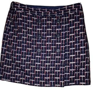 Loft Skirt Blue Red White Tweed